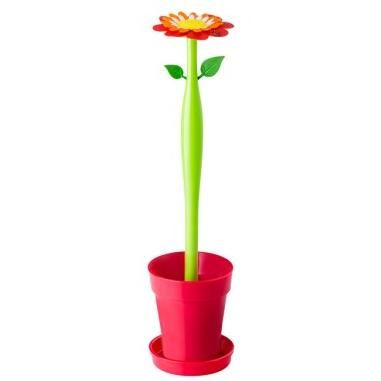 ESCOBILLERO WC VIGAR FLOWER POWER ROJO