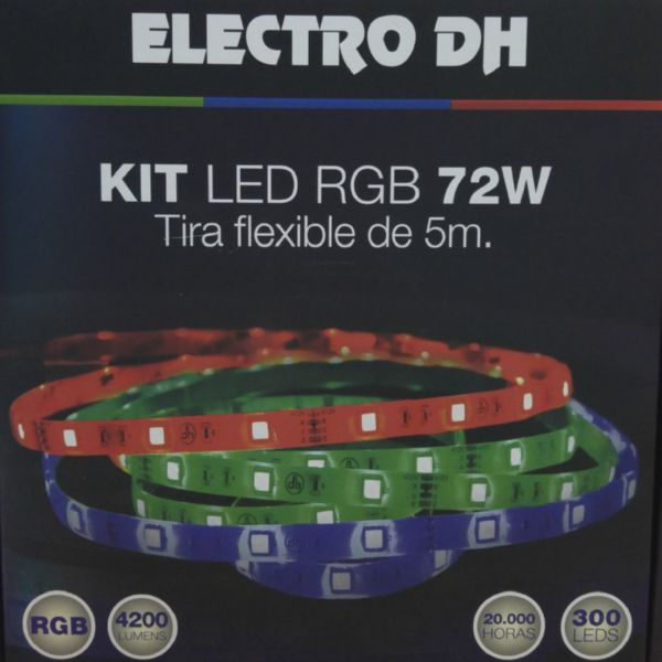 TIRA LED FLEXIBLE ADHESIVA 5 MTS.IP65 RGB 12V 72W.300 LED +TRANSFORMADOR Y MANDO